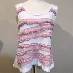 BR Pink and White Fringed Tank Top Size XL